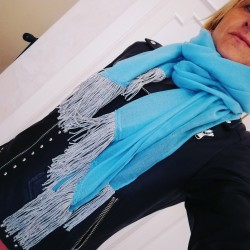 Scarf with lurex fringe